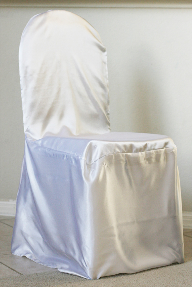 to use our universal satin chair cover for large ballroom chairs or